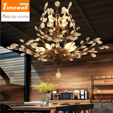 American style rural crystal ceiling lamp branch type candle hanging lamp