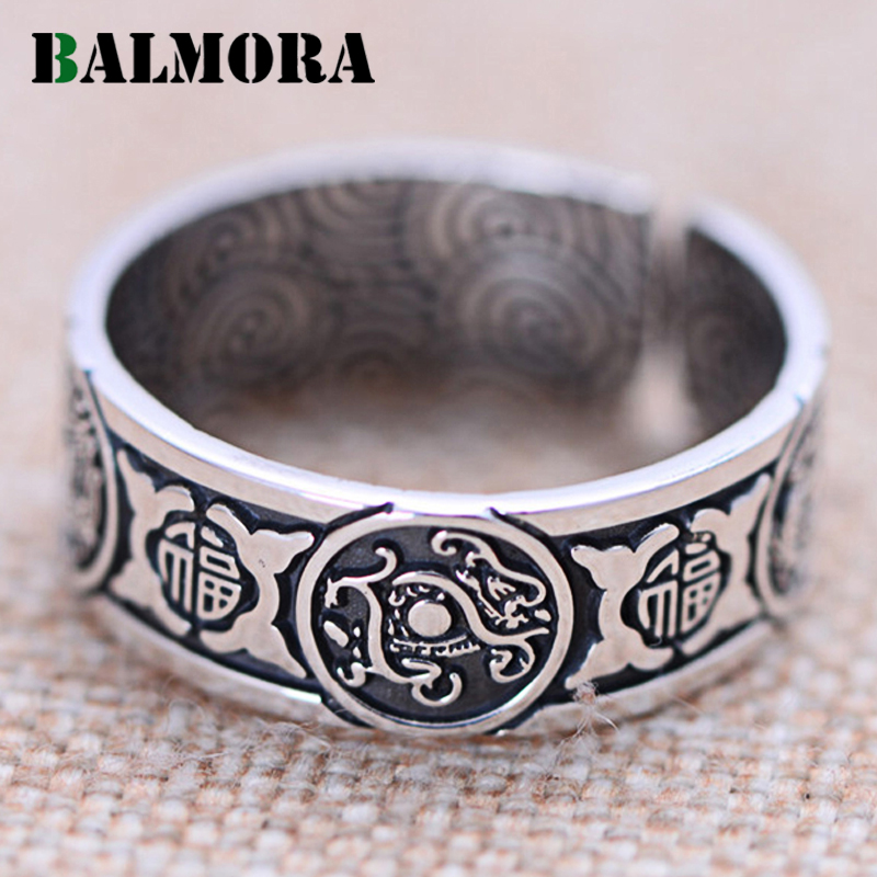 BALMORA 100% Real 999 Pure Silver Ancient Animal Open Rings for Men Vintage Thai Silver Blessed Ring Jewelry Gift JWR053002 balmora 999 pure silver buddha