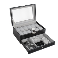 Watch Box Double Layers Suede Inside Jewelry Storage Box Watch Display Slot Container Jewelry Organizer