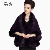 Mùa thu Và Mùa Đông Thời Trang Phụ Nữ Poncho Cardigan Nữ Wedding Cloak Shawl Fox Cổ Áo Lông Thú Áo Choàng Áo Len