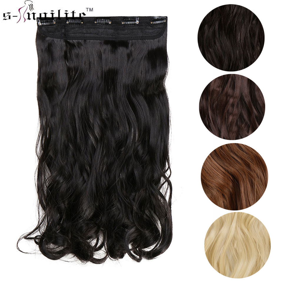 Snoilite 17/24/27 Lady Synthetic Curly Long Clip In Hair Extensions 5 Clips Half Full Head One Piece Hairpiece Brown Blonde Hair Extensions & Wigs