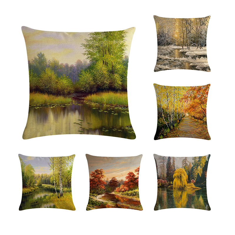Nature Forest Tall Tree Decorative Square Cushion Cover landscape Pillow Cover