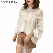 VogorSean Summer Short Womens Blouses Shirts 2019 Chiffon Lace Splice Large size Free bust 3/4 sleeve Women Tops Black/White(China)