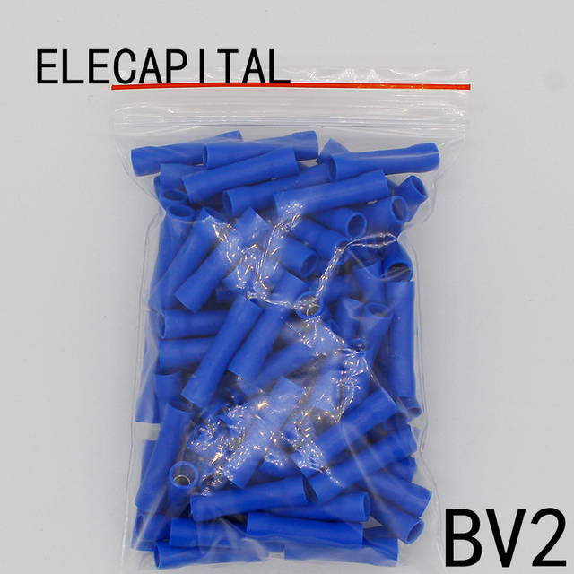 BV2 BV2.5 Full Insulating Wire Connector cable Wire Splice Terminals Joiner Crimp Electrical Fully Insulation BV2 BV 100 PCS BV