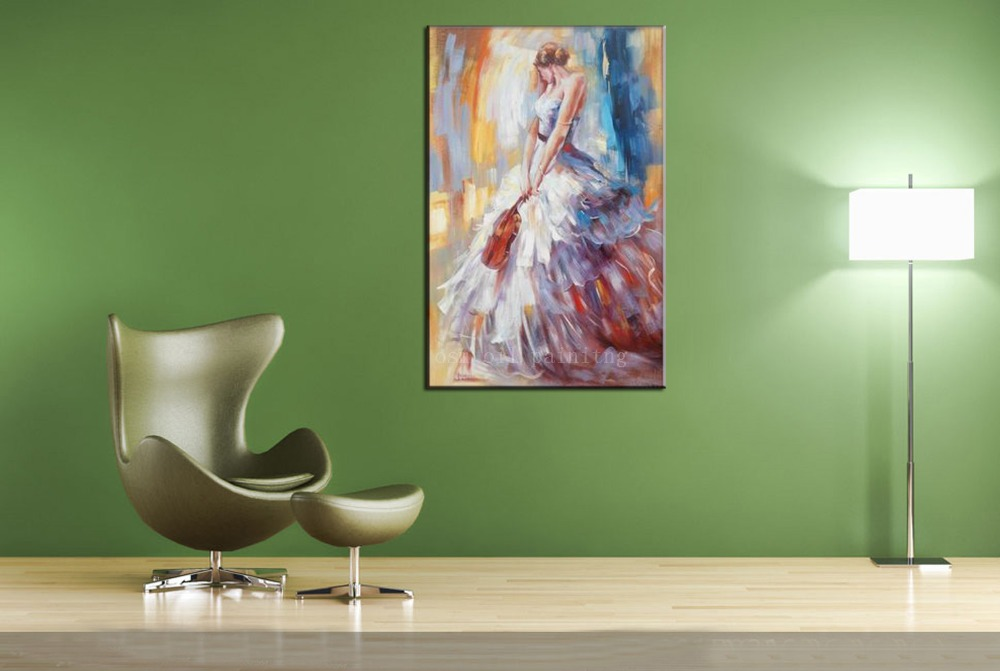 Handpainting Abstract Wall Art Decor Portrait Figure Paint Beautiful Sexy Girl with Violin Oil Painting on Canvas Christmas Gift