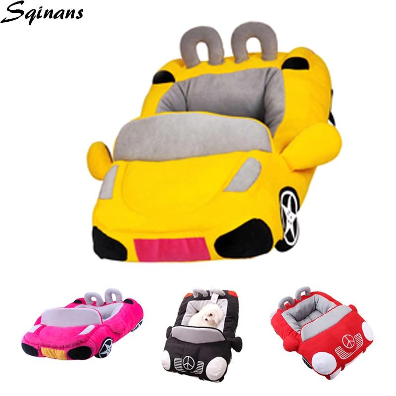 Sqinans Cool Pet chien voiture lit 4 couleurs chaud Pup canapé-lit détachable éponge rembourré petits chiens maison voiture chien lit imperméable à l'eau bas