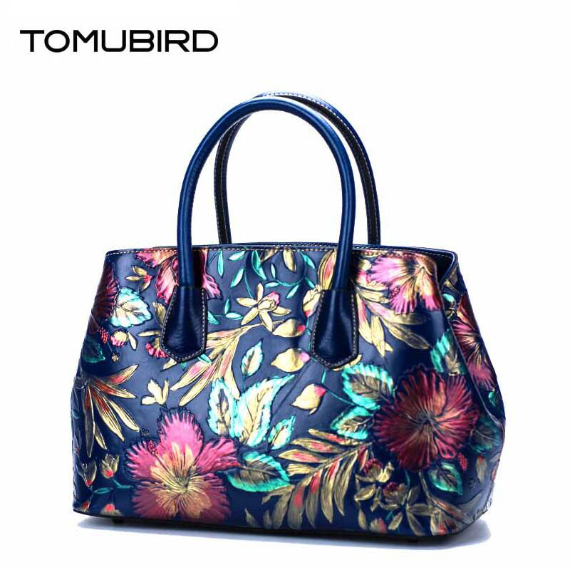 TOMUBIRD 2017 new superior cowhide leather Painting Genuine leather embossed women Leather Handbags Tote leather tomubird new superior cowhide leather classic designer embossed crocodile leather tote top handle handbags genuine leather bag