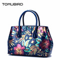 TOMUBIRD 2017 new superior cowhide leather Painting Genuine leather embossed women Leather Handbags Tote leather