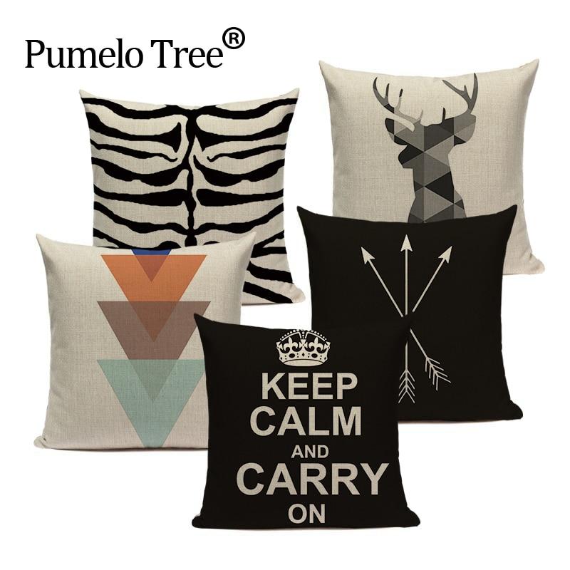 Promotional Cushion Cover Nordic Design Geometric Flag Deer Crown Pillow Throw Gaming Chair Linen Home Decor Sofa Pillowcase