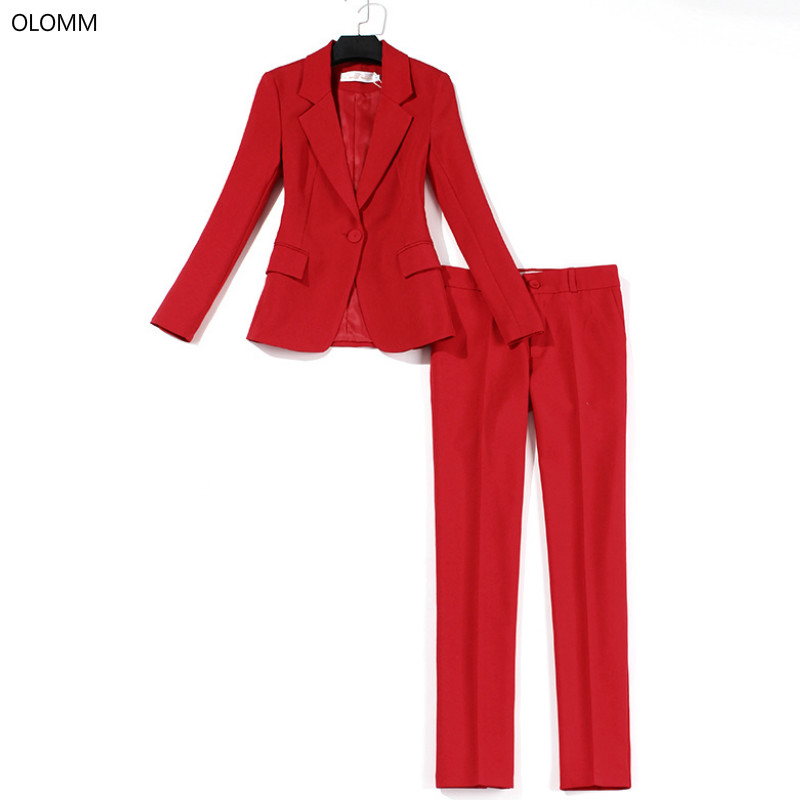 Professional Suit Pants Suit Women Thin Red Suit Jacket Slim Trousers Two-piece 2019 Summer New Women's Clothing