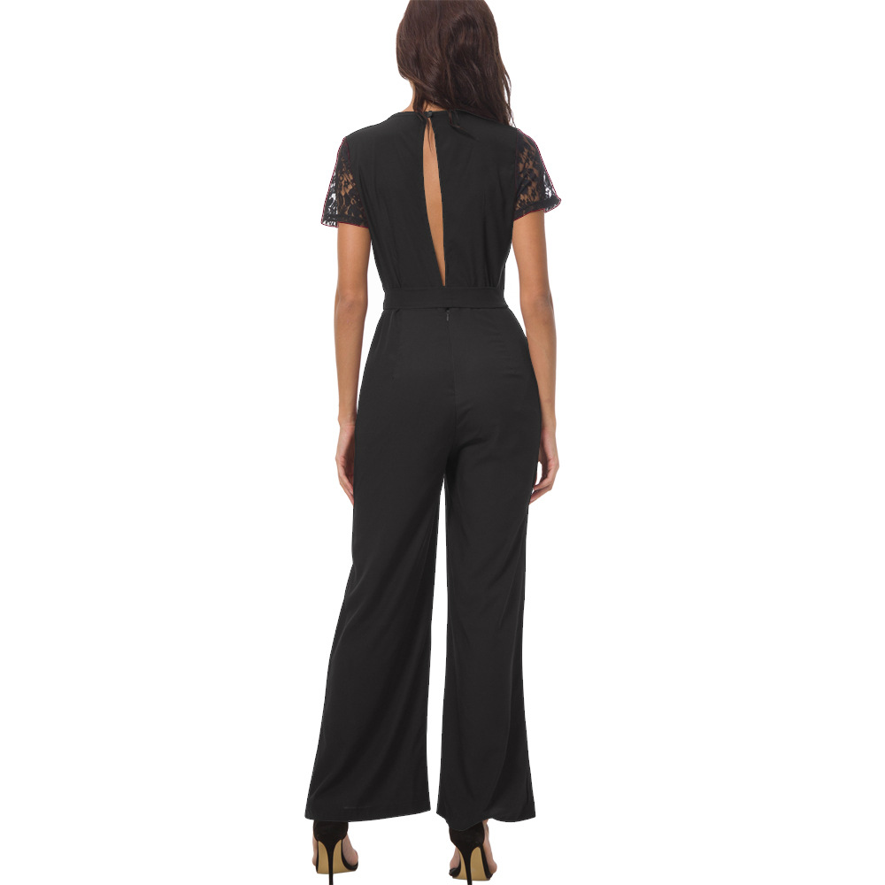 Fashion Womens Clothes Black Jumpsuits Ladies Long Pants Lace Jumpsuits Short Sleeve Backless Summer Clothing for Women 16C4