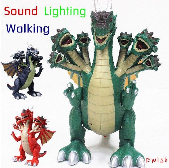 Бесплатная Доставка High-tech Семь голов Игрушку-динозавра Юрского Периода мира электрические игрушки динозавра Tyrannosaurus rex пластиковые модели динозавров