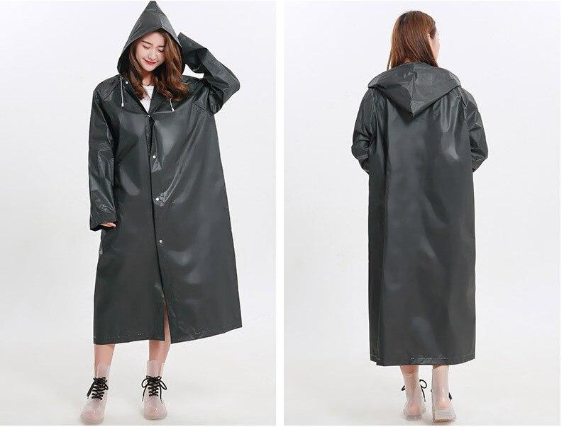 19.Fashion EVA Women Raincoat Thickened Waterproof Rain Coat Women Clear Transparent Camping Waterproof Rainwear Suit Rain jacket_