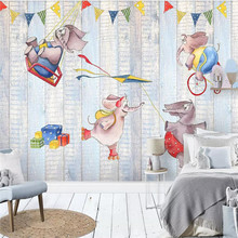 Custom 3D mural elephant cartoon children's room background wall decoration painting wallpaper mural photo wallpaper free shipping children s room wall painting 3d cartoon theme hotel room wallpaper boy bedroom cartoon wallpaper mural