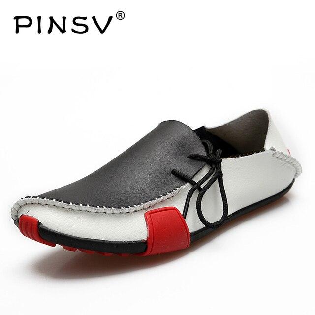 4cad58a7499e14 PINSV Männer Leder Schuhe Herren Loafer Sommer Herbst Mokassins Herren  Schuhe Casual Für Fahren Sapato Masculino