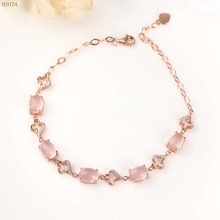 fine jewelry gemstone factory wholesale 925 sterling silver natural quartz pink crystal adjustable bracelet for women