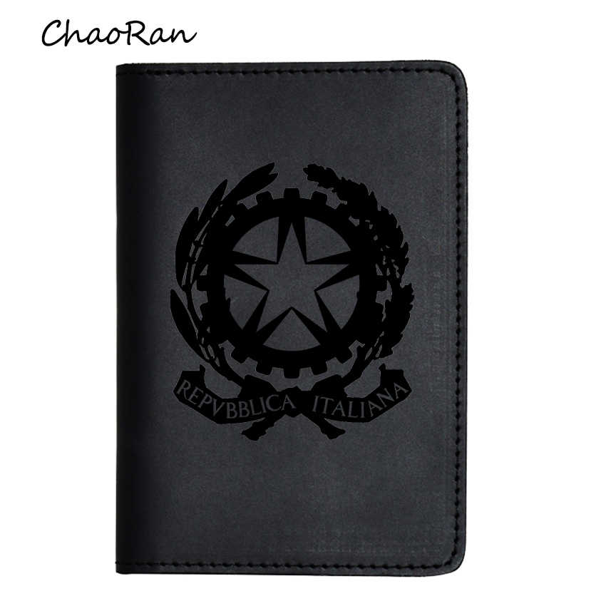The national emblem of Italy Passport Cover Engraved Name Travel Cover Card Organizer Leather Passport Wallet Card Holders