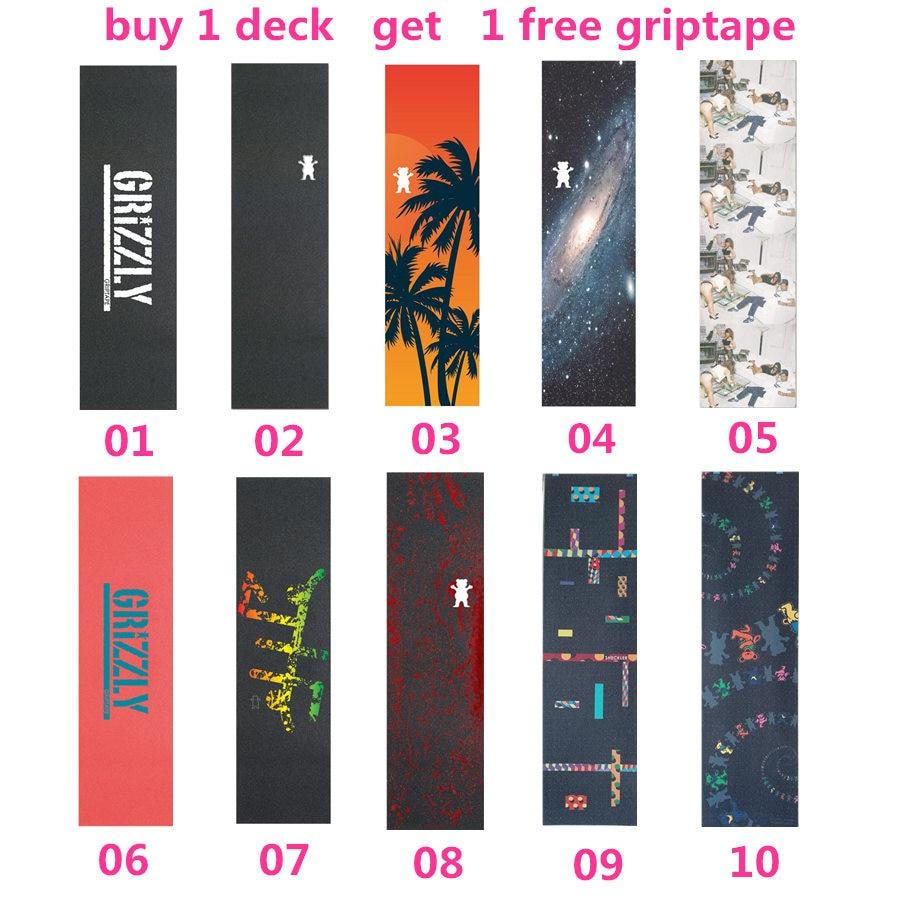 Купить с кэшбэком Professional Canadian Skateboard Deck 7.875, 8, 8.125 inch Double Rocker Skateboarding Decks with 1 pc free griptape