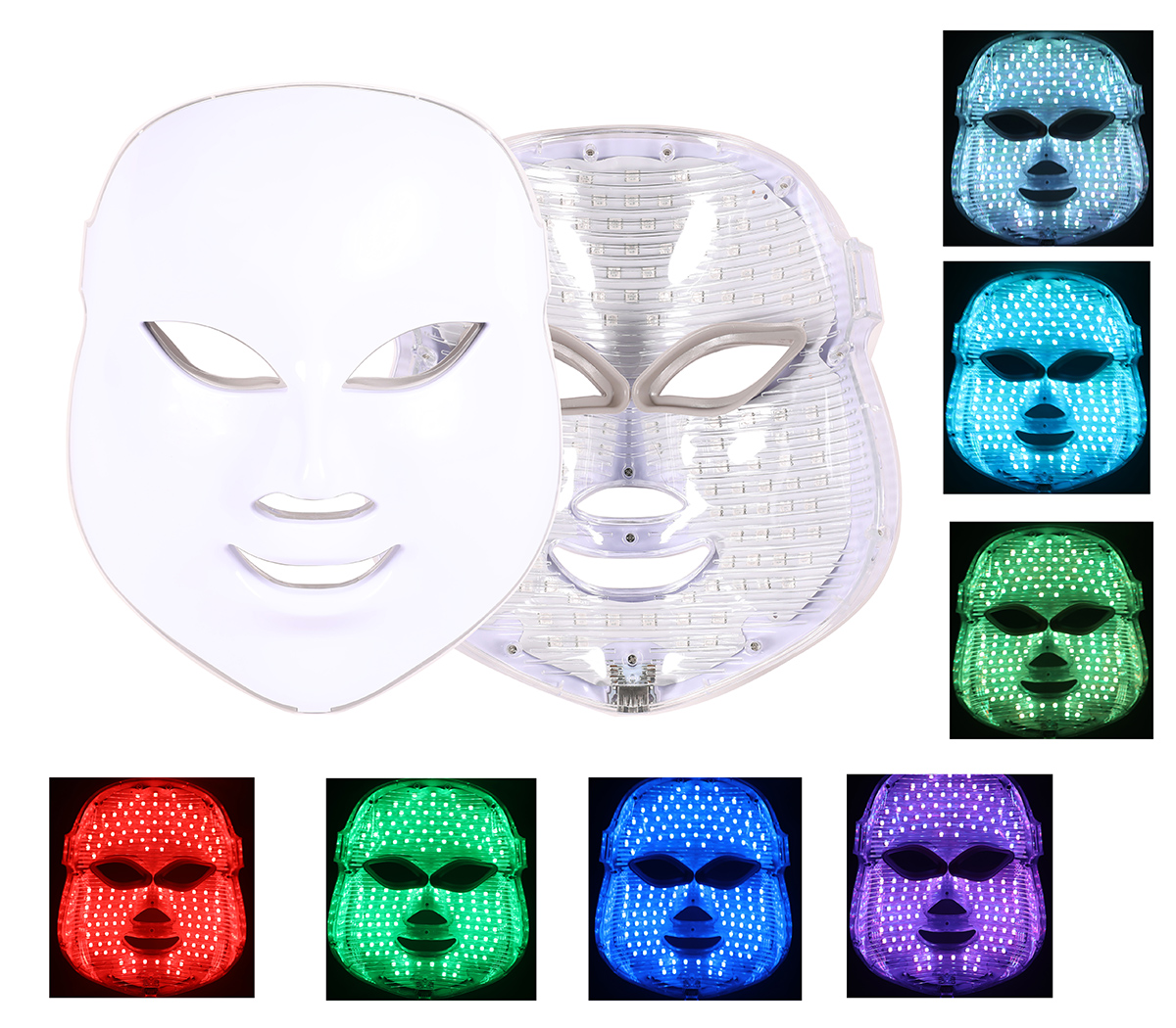 Photon LED Facial Mask Therapy 7 Colors Light Skin Care Rejuvenation Wrinkle Acne Removal Face Beauty Spa