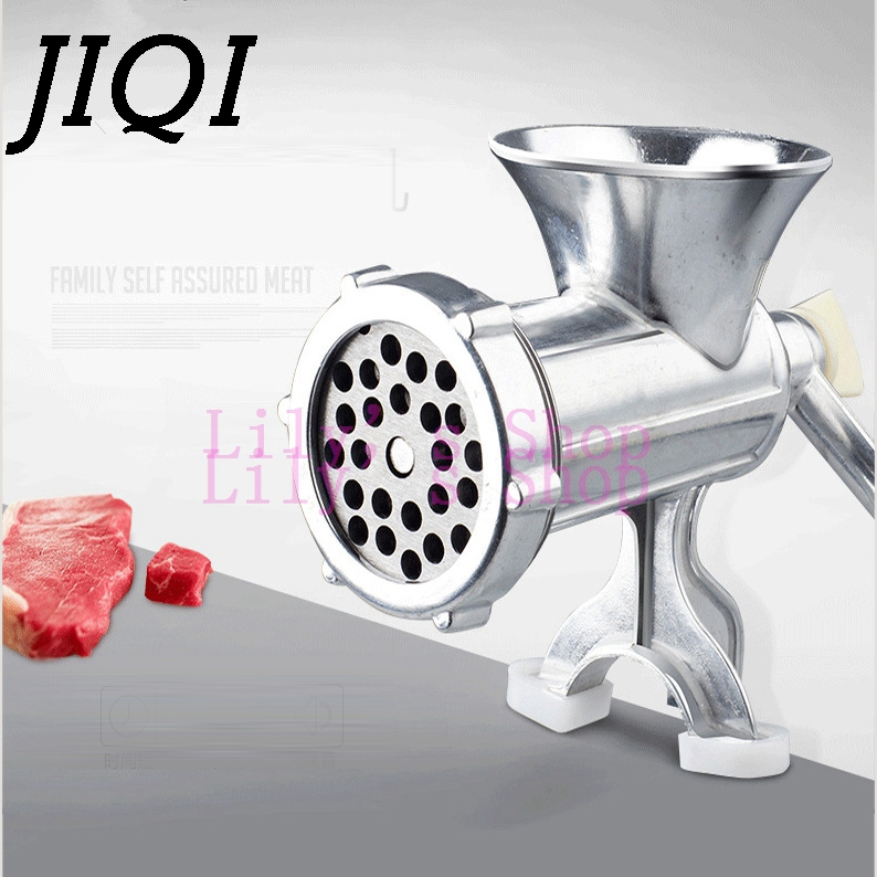 JIQI Manual Meat Slicer Mincer Aluminum Alloy Meat Grinder Mincer Machine Sausage Stuffer Table Crank Kitchen vegetable Cutter