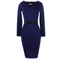 Plus Size Women Clothing Long Sleeve O Neck Blue Gold Belt Patchwork Tunic High Waist Stretch Bodycon Casual Party Office Dress