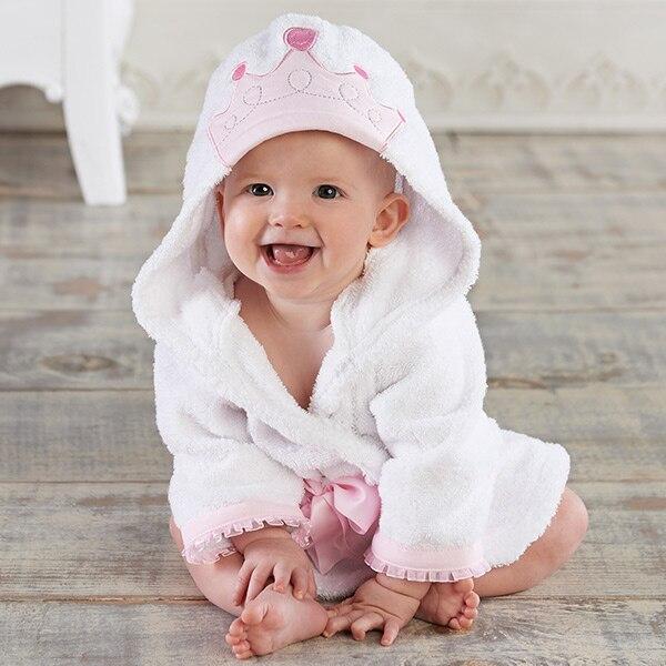 Милый детский банный халат с мышкой пандой, чистый хлопок, купальный Халат с капюшоном, Пляжное банное полотенце, спа-халат с мышкой крысы, пончо для младенцев - Цвет: princess