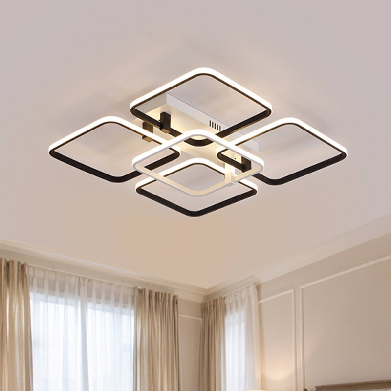 Simple Modern LED Plafon Ceiling Lights For Living Room Indoor Home Decor Bedroom Black Lamp With