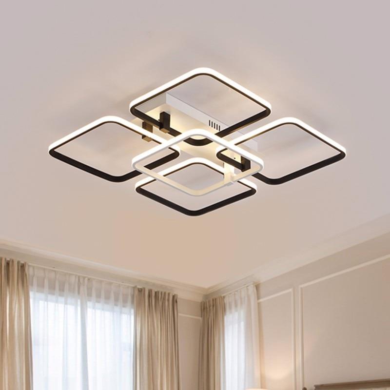 Здесь можно купить  Simple Modern LED Plafon Ceiling Lights For Living Room Indoor Home Decor Bedroom Black Lamp With Remote Control Lustres  Свет и освещение
