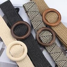 Vintage Boho trenzado cinturón de cintura de verano sólido mujer cinturón redondo de Madera Suave hebilla falso paja cinturones anchos para las mujeres gran oferta