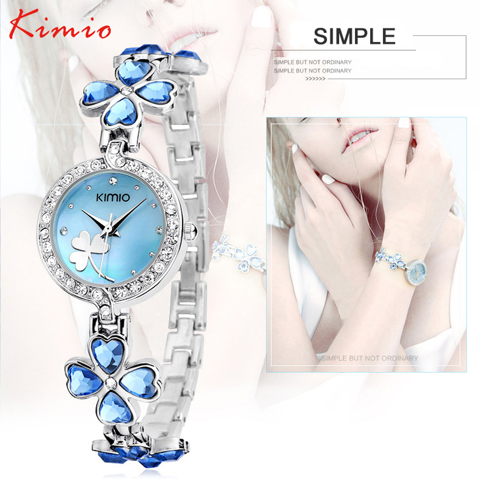 Luxury Brand Kimio Bracelet Watch Stainless Steel Women Crystal Watch Elegant Star Crystal Diamond Watch for Lady Clover new arrival bs brand full diamond luxury bracelet watch women luxury round diamond steel watch lady rhinestone bangle bracelet