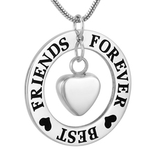 IJD9782 Stainless Steel Best Friends Forever Cremation Necklace for Ashes Urn Love Keepsake Memorial Pendant Jewelry
