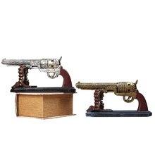 Creative Vintage Resin Gun Bullet Model Crafts Retro Pistol Model Handicraft Figurine Ornament Home Wine Cabinet Decor Desk Gift