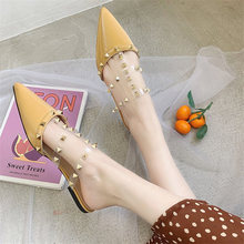 цены Women Flat Slippers Slip On Mules 2019 Summer shoes women Fashion Luxury Rivet T-strap Slides Slip Loafers Mules female shoes
