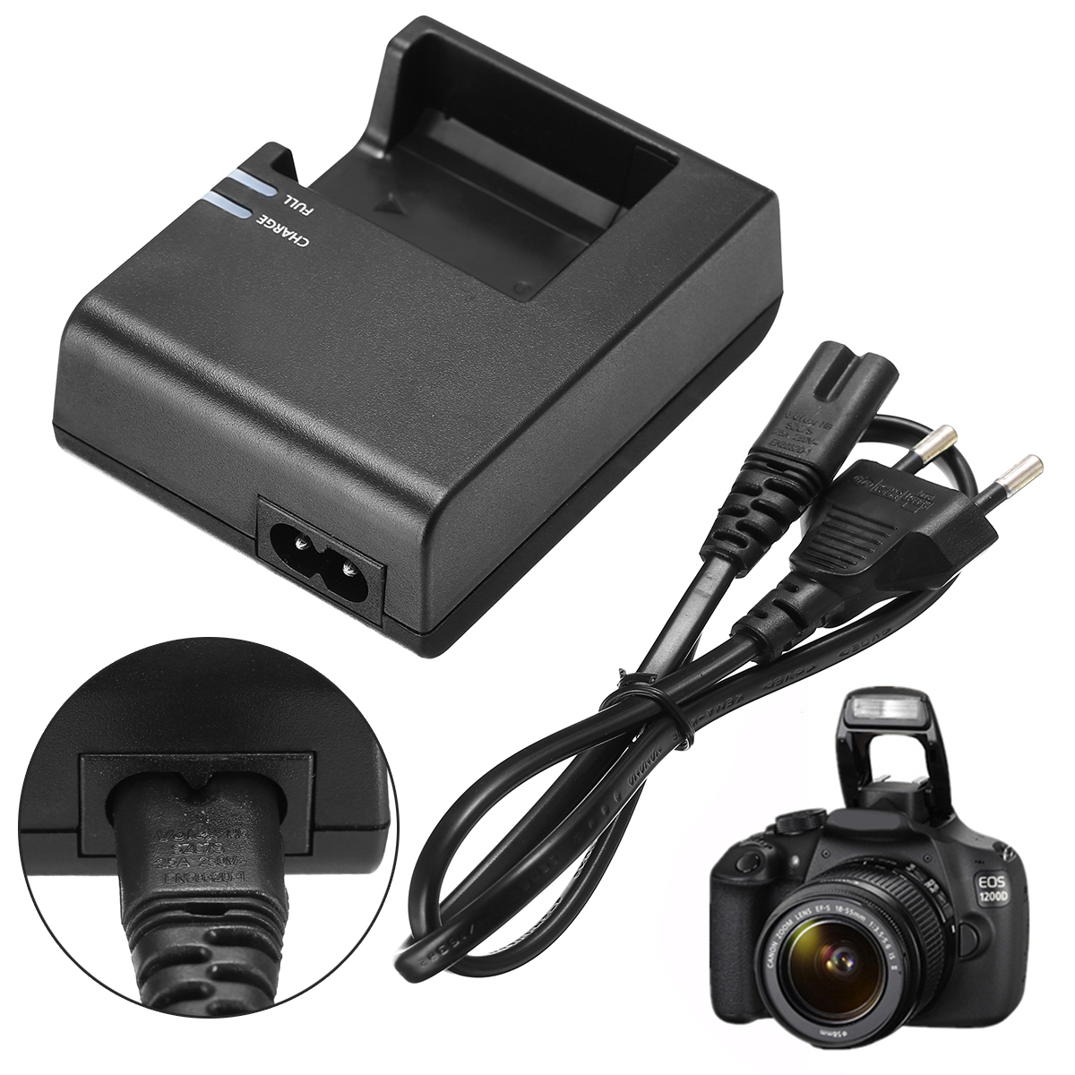 цена на New Arrival 1pc LC-E10C Camera Battery Charger + EU Plug Power Cord For Canon LP-E10 EOS 1100D 1200D Kiss X50 Rebel T3