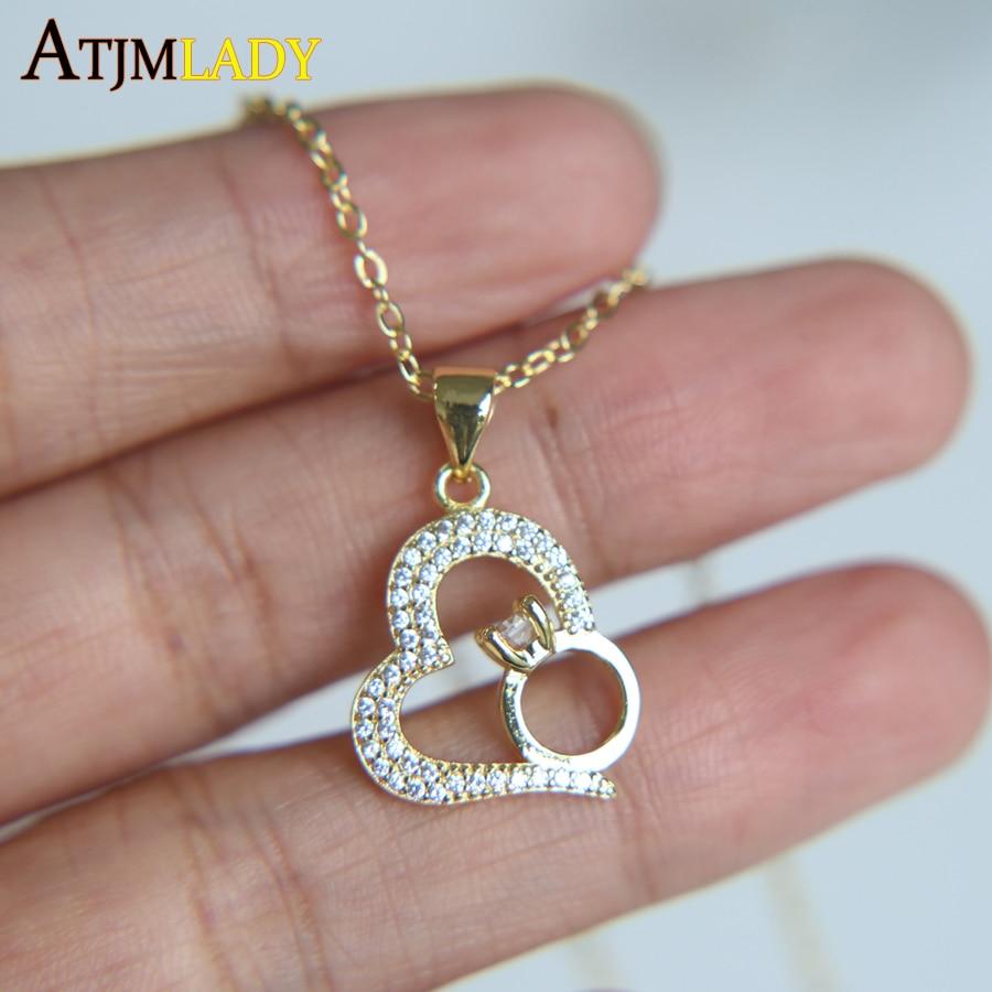 2017 fine prong setting AAA cubic zirconia heart shape pendant with ...