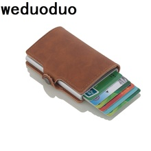 купить 2019 New RFID Blocking Men Credit Card Holder Aluminum Alloy Business ID Card Case Automatic Metal Leather Cardholder Wallet дешево
