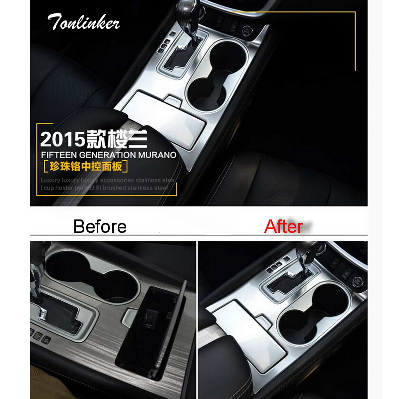 Tonlinker 2PCS DIY car styling stainless steel in the control gear panels cover case Stickers for Nissan murano 2015 accessories