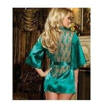 Hot Sale 2018 Sexy Temptation Women Dress V-neck Bath robe Rayon Silk Sleepwear Pajamas Set Nightgown Robes woman soft lingerie