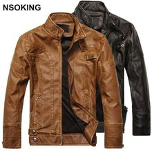 2016 New Fashion PU Men Leather Jacket Winter Thicken Warm Cool Coat