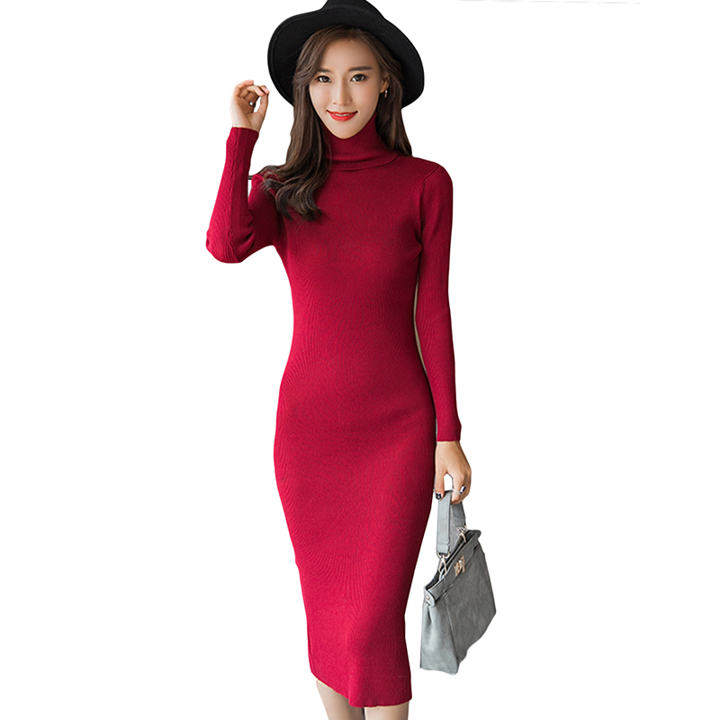 2018 new autumn and winter sexy long dress soft feminine with long collar cashmere sweater female turtleneck knitted pullovers