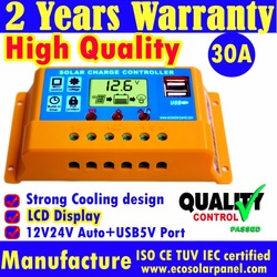 German Quality 30A Solar Charge Controllers solar panel battery regulator LCD display solar controller 12v/24v auto