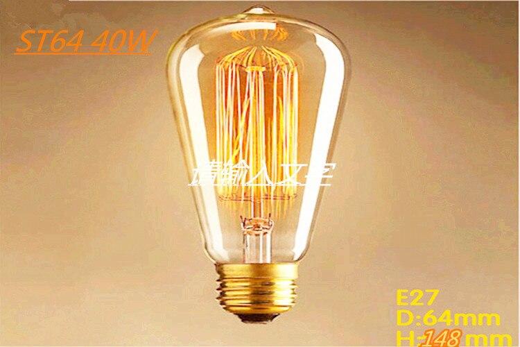 Bulb ST64 Antique Retro Vintage E27 40W AC: 220V Edison Light Bulb Incandescent Light Squirrel-cage Led Filament Bulbs