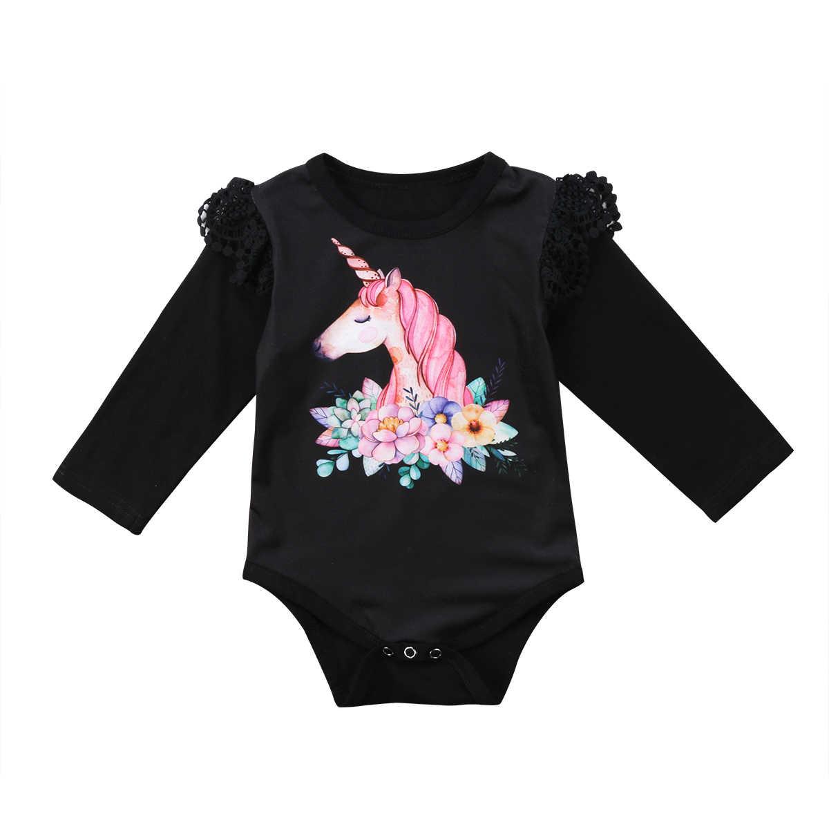 01c944099 Bebé Niñas Ropa Infantil bebé de manga larga de las niñas unicornio mono  mameluco bebés trajes