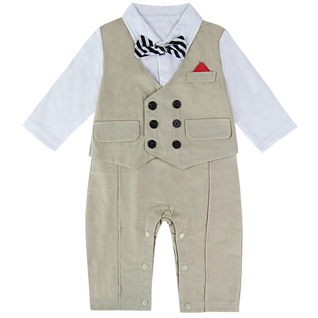0587be0b8e7e Toddler Boy Gentleman Jumpsuit Striped Bowtie Baby Party Suit Infant Cute  Vest Romper Birthday Party Gown Baptism Gift 6-24M