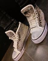Bling Bling Crystal Casual Shoes 2018 High Top Lace up Women Sneakers Fashion Rhinistone Women Spring/Autumn Shoes Free Shipping