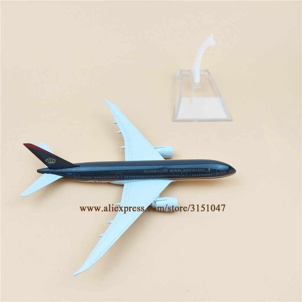 Alloy Metal Air Royal Jordanian B787 Airlines Airplane Model Boeing 787 Airways Plane Model Stand Aircraft Kids Gifts 16cm