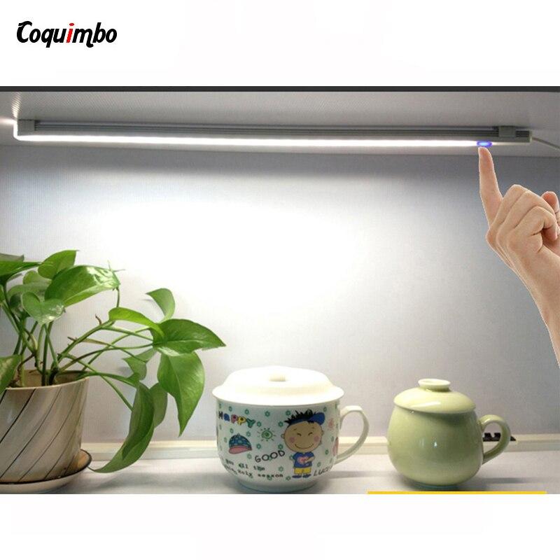 Led Armario LED Touch Sensor Kitchen Under Cabinet Light Wardrobe LED Closet Light Bookshelf White USB Lamp With Touch Switch