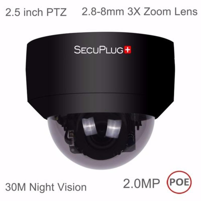 HD 1080P PTZ Outdoor POE IP Camera 3X Optical Pan/Tilt/3X Motorized Zoom Black