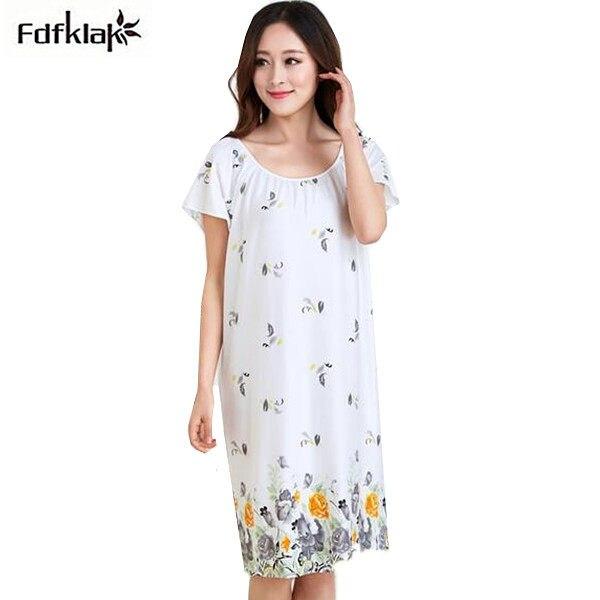 aacaeec11e Women Cotton Nightgown Floral Sleep Dress Sleeveless Sleep Shirt Fashion  Night Shirt Sexy Nightwear Casual Home Dress. US  12.99. Fdfklak Loose  nightgowns ...