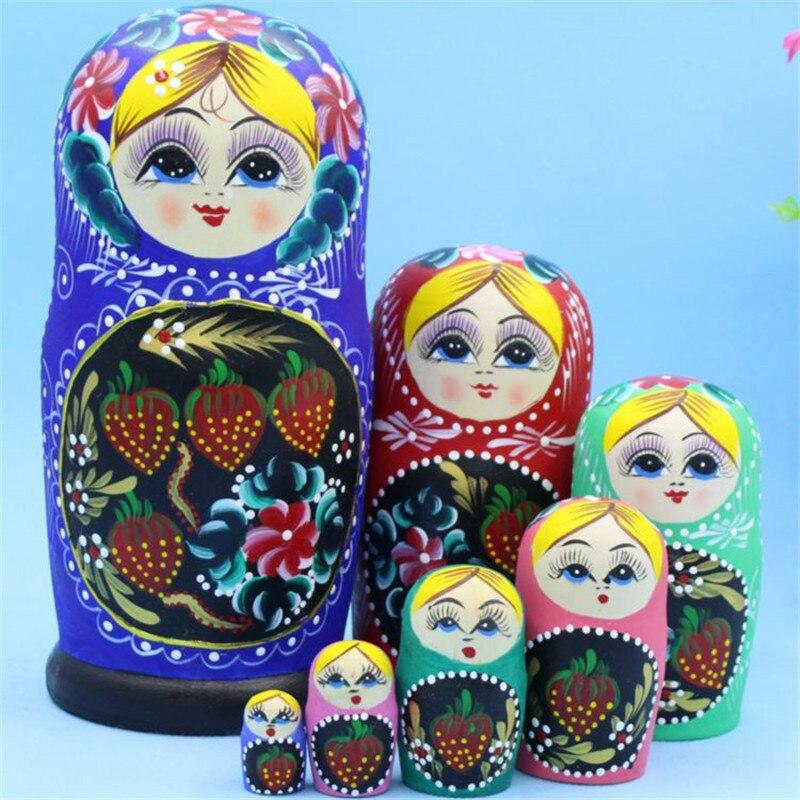 Poupée russe 7 couches peinte à la main fraise Patern bois sec formaldéhyde qualité supérieure matriochka poupée nidification enfants cadeau L30